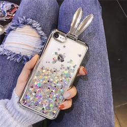 Ốp lưng Tai thỏ nước kim tuyến siêu kute cho iPhone