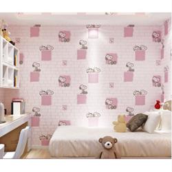 Giấy dán tường vân nổi dày đẹp chó snoopy hồng
