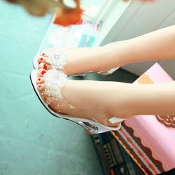 Giày đế xuồng nữ gót trong quai phối hoa hàng nhấp - LN1496