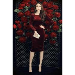 Đầm body nhung đỏ tay dài