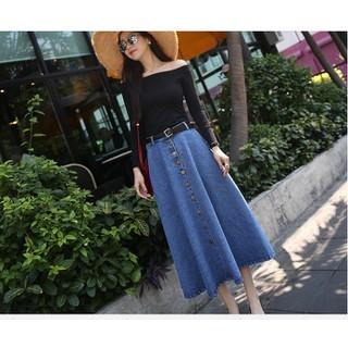 Chân váy jean dài xòe cài nút - Chân váy dài xóe [ĐƯỢC KIỂM HÀNG] 8714179 - 8714179 thumbnail