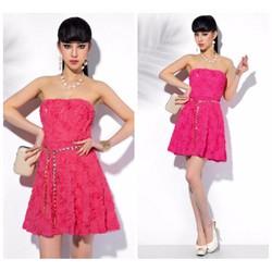 Đầm ren xòe cúp ngực hoa hồng cao cấp