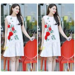 Đầm suông hoa 3D cao cấp