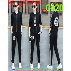 Sét thể thao nữ áo thun trong phối quần dài soc kèm áo khoác QATT579