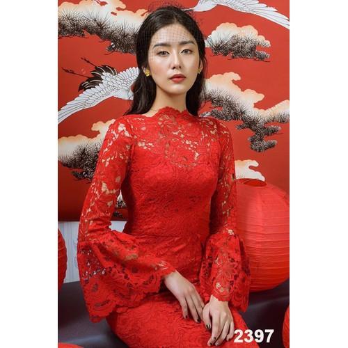 Đầm body đỏ ren tay dài