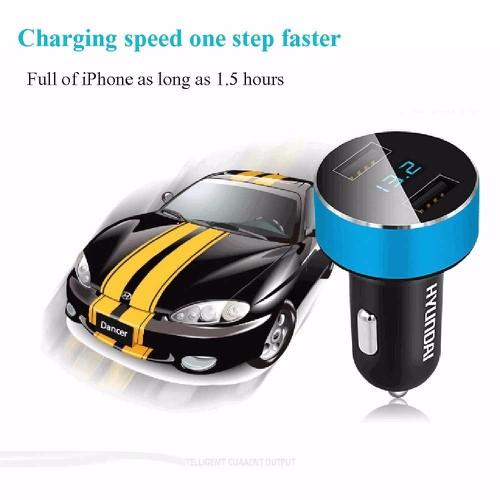 Tẩu sạc oto, xe hơi USB HYUNDAI xịn - có đồng hồ LED điện áp