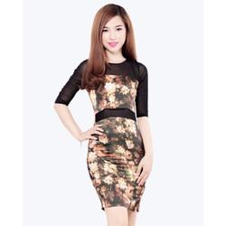Đầm Body Hoa 3D Manggo Hàng VNXK - Giảm Giá