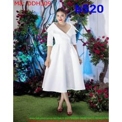 Đầm dự tiệc màu trắng thiết kế cổ vest sang trọng thanh lịch DDH309