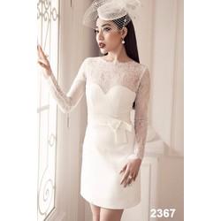 Đầm body trắng phối ren tay dài