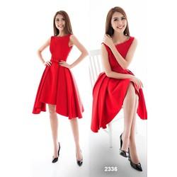 Đầm xòe đỏ đính nơ dễ thương