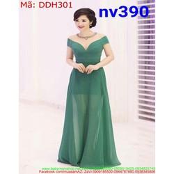 Đầm dạ hội phom xòe bẹt vai ngang xinh xắn duyên dáng DDH301