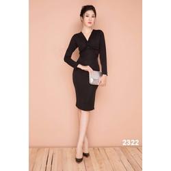 Đầm body đen dài tay