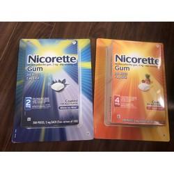Kẹo gum cai thuốc Nicorette 100 viên USA 2mg