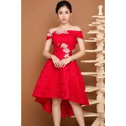 Đầm Xòe Trễ Vai Đắp Ren Hoa