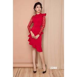 Đầm body đỏ phối ren