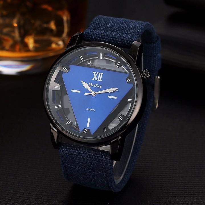 Đồng hồ nam dây vải , đồng hồ tam giác McyKcy 5