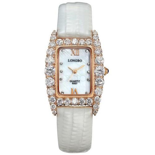Đồng hồ nữ LONGBO BLBP6007k - Viền vàng đính đá, mặt trắng, dây da