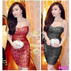 Đầm ren body cúp ngực ánh kim đan xích Bella