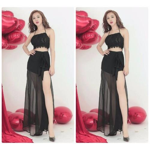 Set áo croptop váy maxi cao cấp