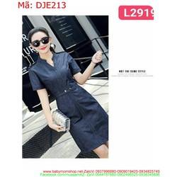 Đầm jean nữ công sở thắt lưng giả sành điệu DJE213