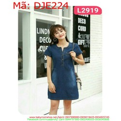Đầm jean nữ công sổ cổ trụ thời trang sành điệu DJE224