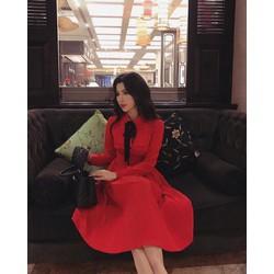 Đầm xoè tiểu thư đỏ dập ly nơ