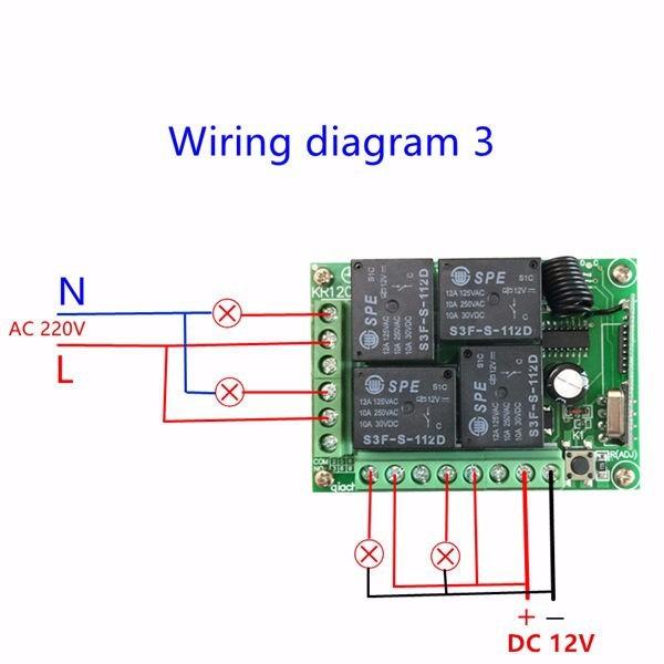 Bộ điều khiển từ xa 4 kênh nguồn 12v 4