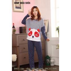 Đồ bộ dài mặc nhà thun cotton hình gấu panda hàng quảng châu - B447