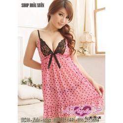 Đầm ngủ thun lưới phối ren hàng quảng châu cao cấp - D210
