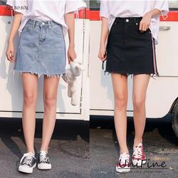 Chân váy jean nữ chữ A rách không lai - QZ180301