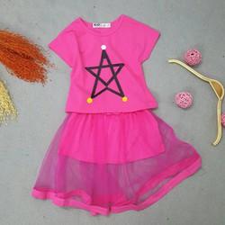 Set áo croptop in hình sao kèm chân váy lưới