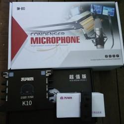 Trọn bộ LIVE STREAM gồm Sound Card K10, bộ phát XOX MA1 và Micro BM800