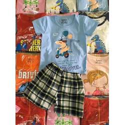 Đồ bộ cotton phối quần caro cho bé trai 25-28kg