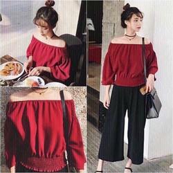 Set áo bệt vai đỏ+quần suông