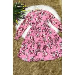 Đầm suông hồng in hoa tay dài lai bèo