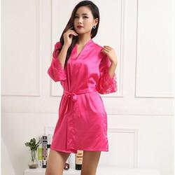 Set Váy ngủ 2 dây hở lưng sexy cùng với áo choàng viền ren gợi cảm
