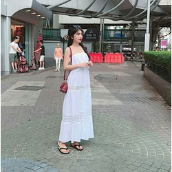 Đầm maxi trắng 2 dây cúp ngực