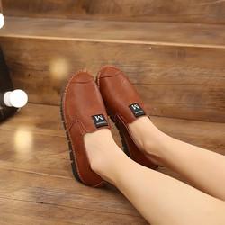 Giày đế bằng neon nữ S1067 Nâu