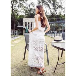 Đầm Maxi Voan Cúp Ngực Viền Ren