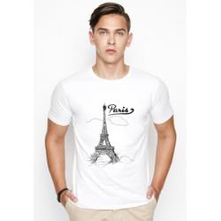 Áo thun nam cổ tròn in hình tháp Paris - Có 8 màu vải dày đẹp
