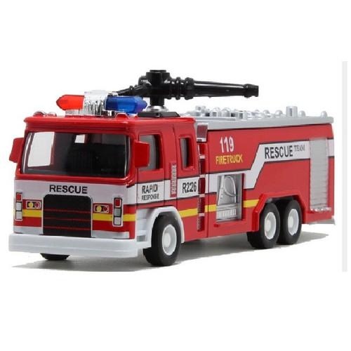 Xe cứu hỏa đồ chơi trẻ em bằng sắt có âm thanh và đèn tỉ lệ 1:32