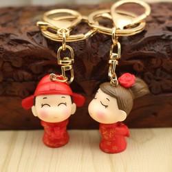 Móc khóa cặp đôi cô dâu chú rể, móc khóa túi xách, phụ kiện, quà tặng