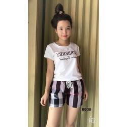 Set áo phối quần short kẻ sọc sành điệu ph8001