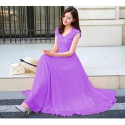 Đầm Maxi Ren Tím Quyến Rũ- Váy Maxi- Váy xòe