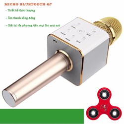 Micro karaoke tích hợp Loa Bluetooth Q7 Vàng tặng 1 spinner
