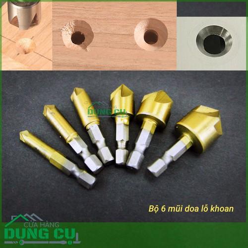 Bộ 6 mũi doa miệng lỗ gỗ bắt âm mũ vít 5 lưỡi phay phủ titan 6-19mm - 5347153 , 8910324 , 15_8910324 , 150000 , Bo-6-mui-doa-mieng-lo-go-bat-am-mu-vit-5-luoi-phay-phu-titan-6-19mm-15_8910324 , sendo.vn , Bộ 6 mũi doa miệng lỗ gỗ bắt âm mũ vít 5 lưỡi phay phủ titan 6-19mm