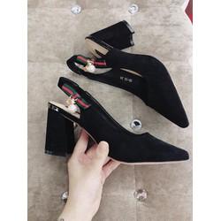 giày gót vuông hở gót