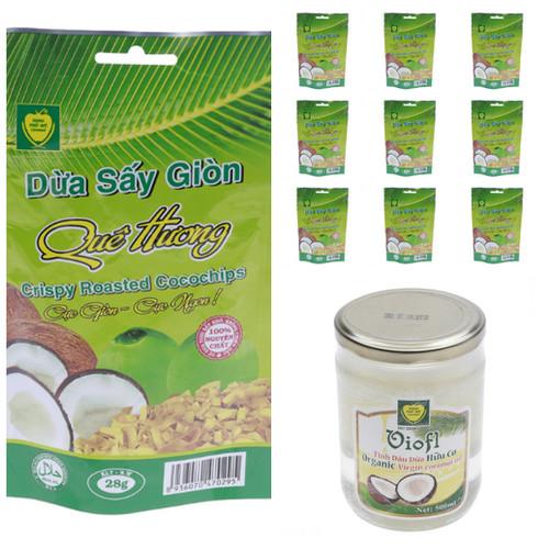 Bộ 10 gói Dừa sấy giòn 28g và 1 Tinh dầu dừa ép lạnh VIOFL lọ 500ml