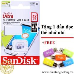 Thẻ Nhớ MicroSD SanDisk 32Gb Class 10 Hàng Công Ty Tặng Đọc Thẻ Nhớ