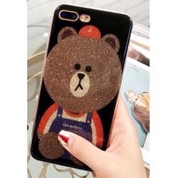 Ốp lưng Gấu Brown nhũ kim tuyến cho iPhone